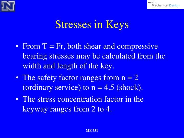Stresses in Keys
