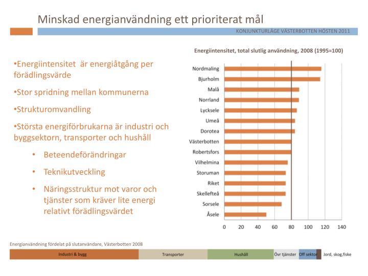Minskad energianvändning ett prioriterat mål