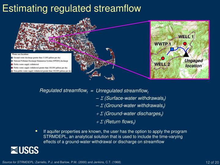 Estimating regulated streamflow