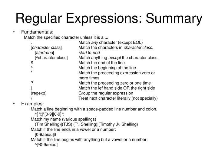 Regular Expressions: Summary