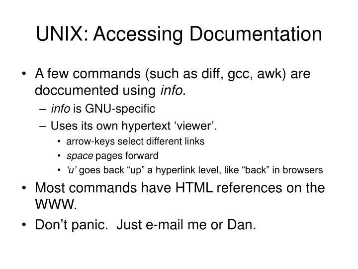 UNIX: Accessing Documentation