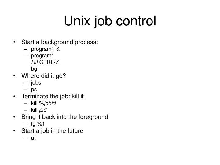 Unix job control