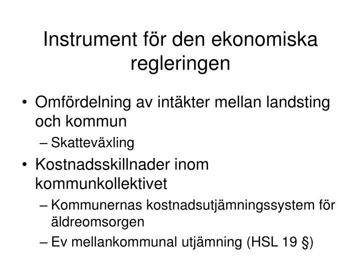 Instrument för den ekonomiska regleringen