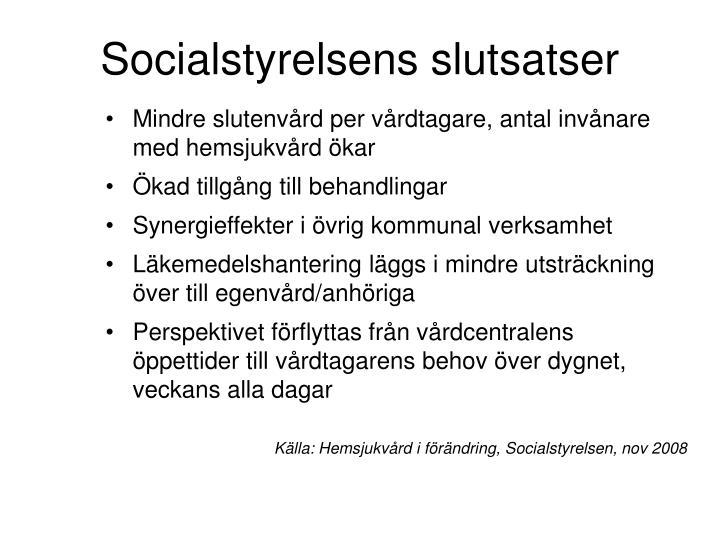Socialstyrelsens slutsatser