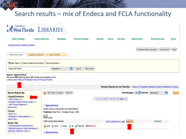 Search results – mix of Endeca and FCLA functionality