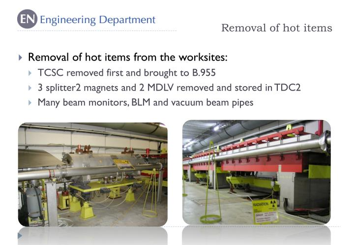 Removal of hot items