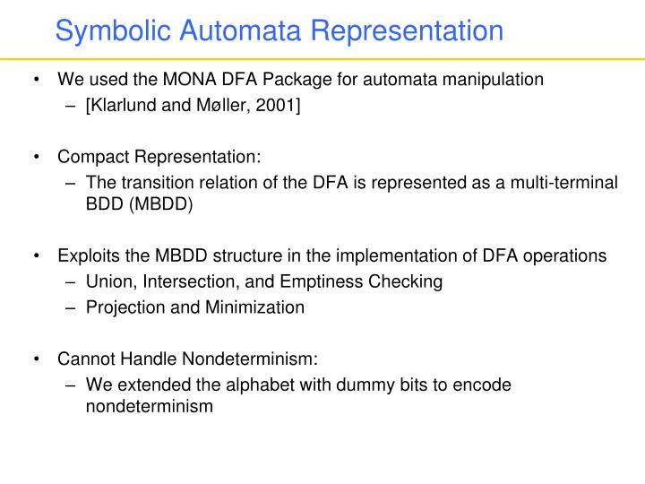 Symbolic Automata Representation