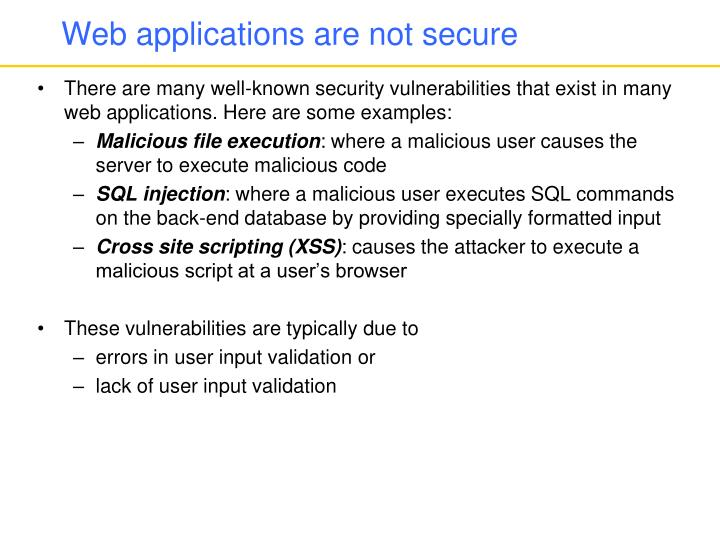 Web applications are not secure
