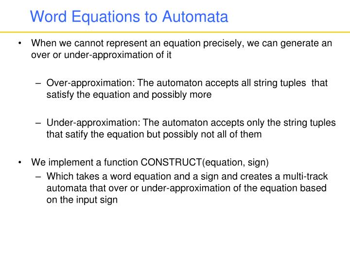 Word Equations to Automata