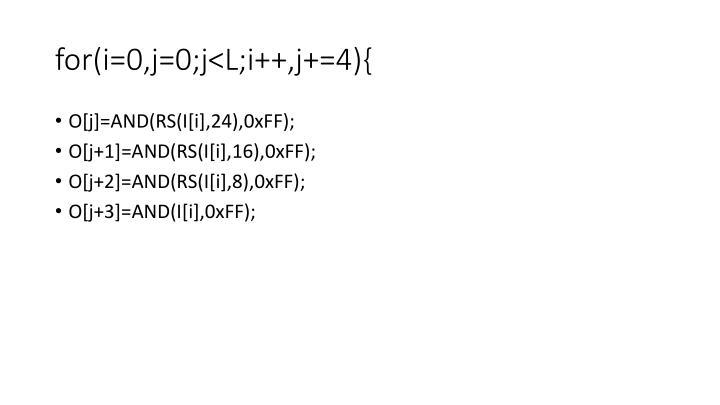 for(i=0,j=0;j<L;i++,j+=4){