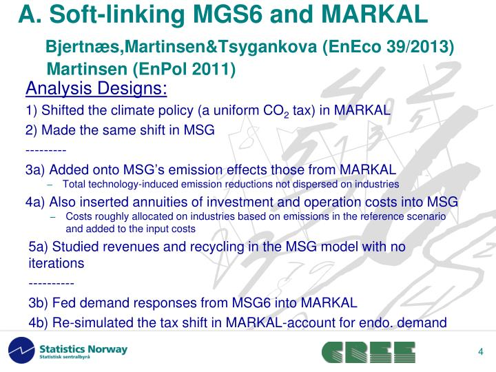 A. Soft-linking MGS6 and MARKAL