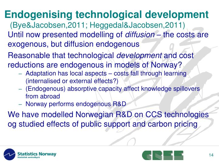 Endogenising technological development