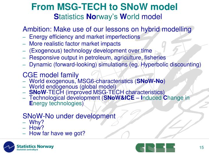 From MSG-TECH to SNoW model