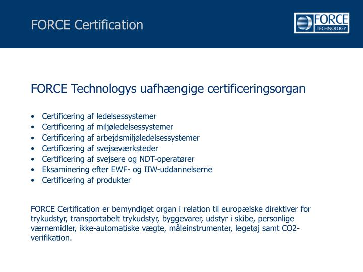 FORCE Certification