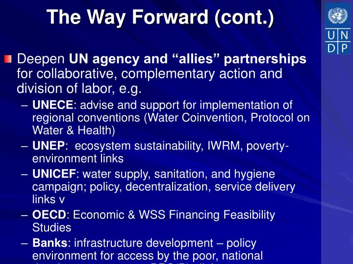 The Way Forward (cont.)