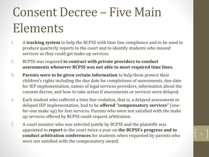 Consent Decree – Five Main Elements