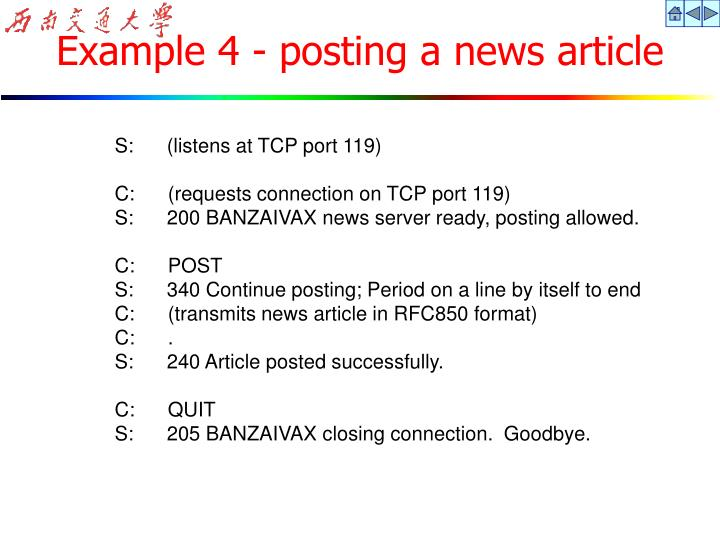 Example 4 - posting a news article