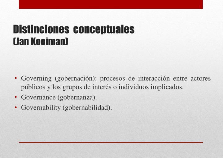 Governing (gobernación): procesos de interacción entre actores públicos y los grupos de interés o individuos implicados.