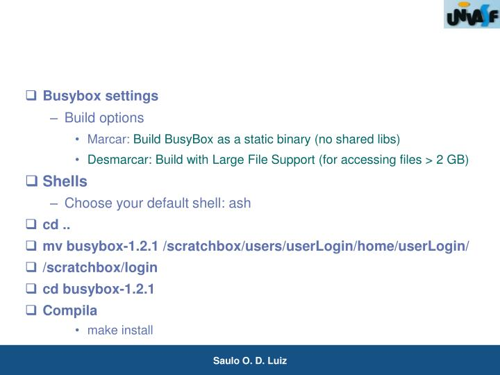 Busybox settings