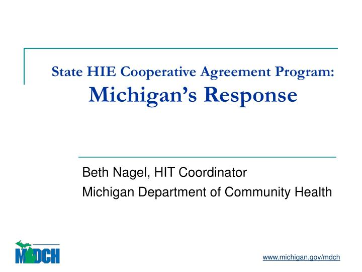 State HIE Cooperative Agreement Program:
