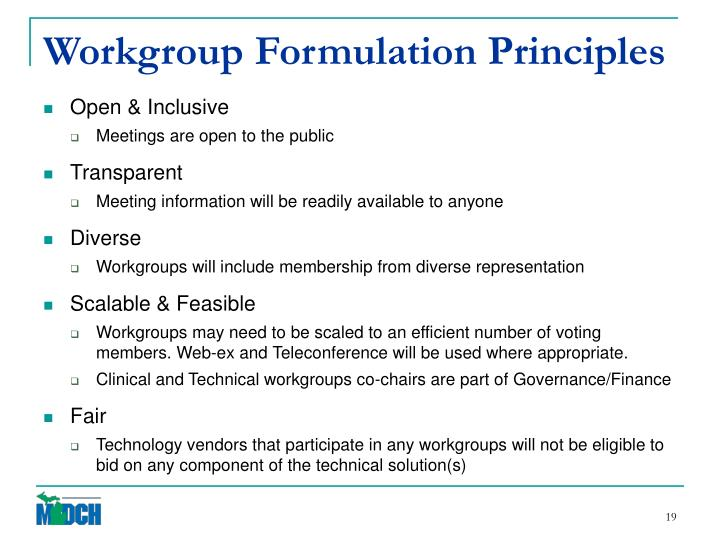Workgroup Formulation Principles