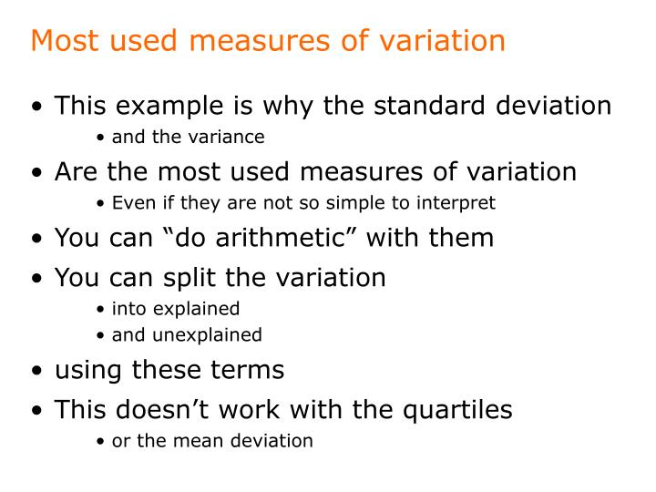 Most used measures of variation