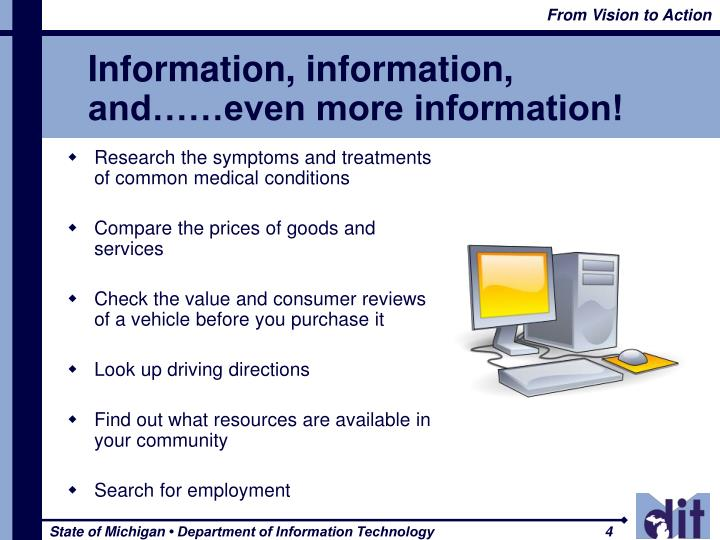 Information, information, and……even more information!