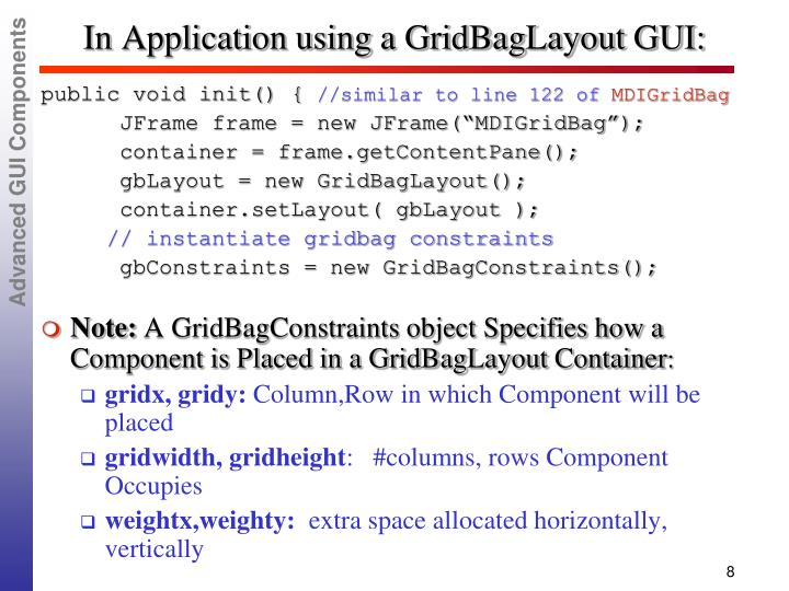 In Application using a GridBagLayout GUI: