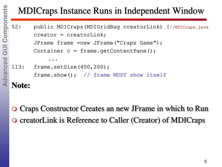 MDICraps Instance Runs in Independent Window