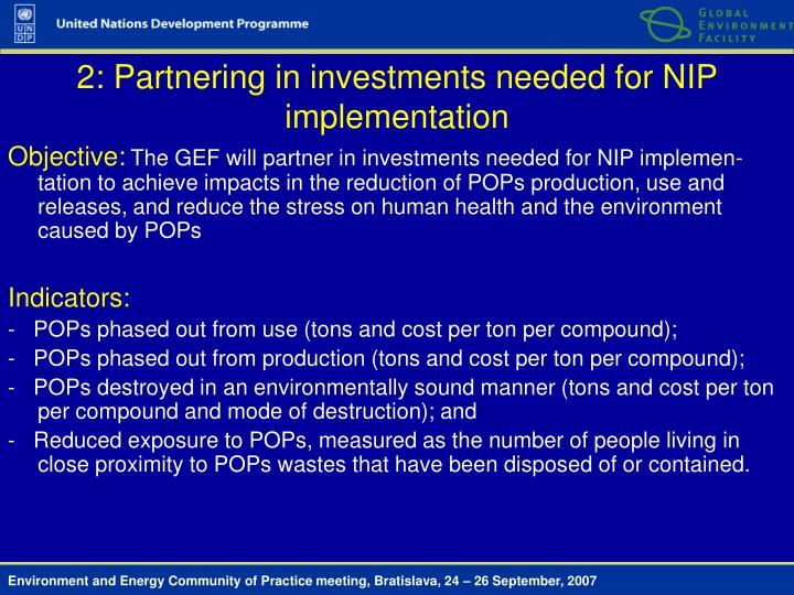 2: Partnering in investments needed for NIP implementation
