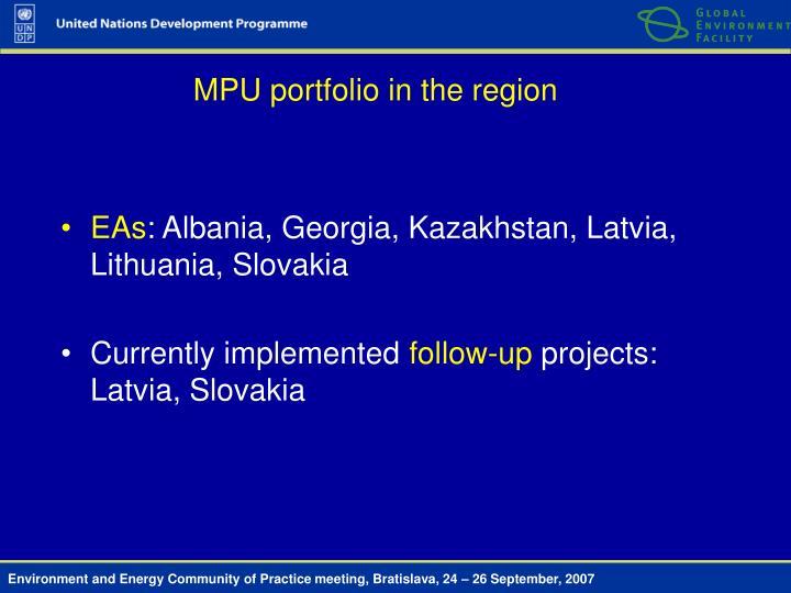 MPU portfolio in the region