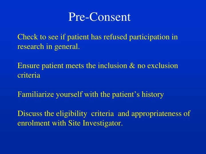 Pre-Consent
