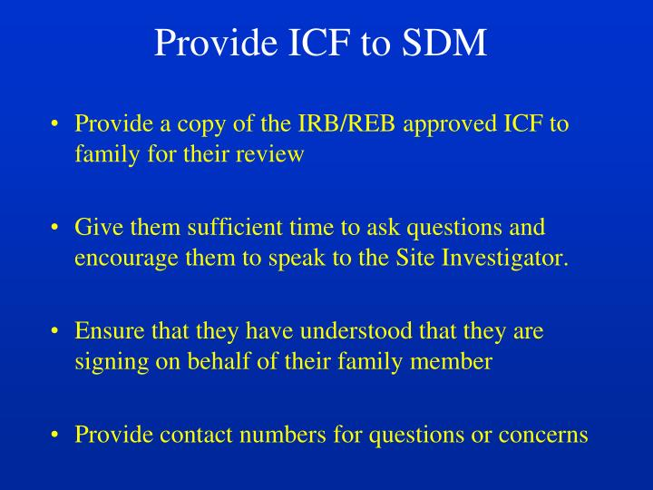 Provide ICF to SDM