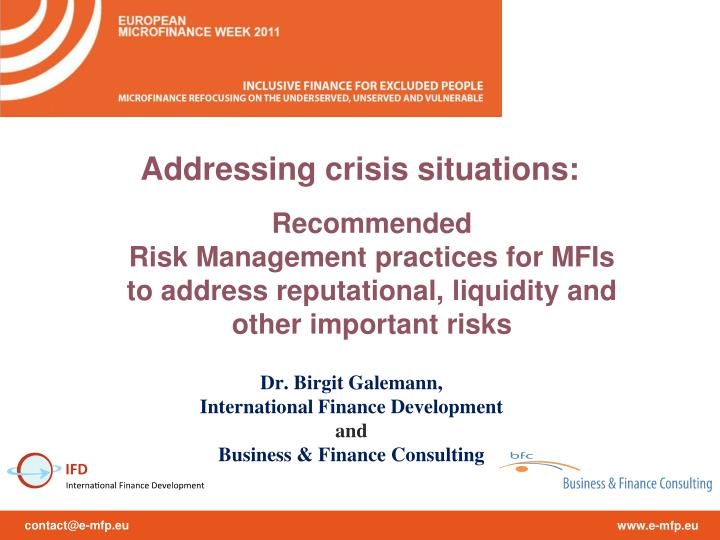 Addressing crisis situations: