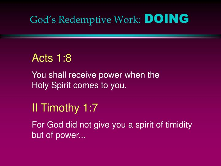 God's Redemptive Work: