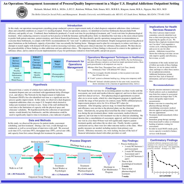 An Operations Management Assessment of Process/Quality Improvement in a Major U.S. Hospital Addictions Outpatient Setting