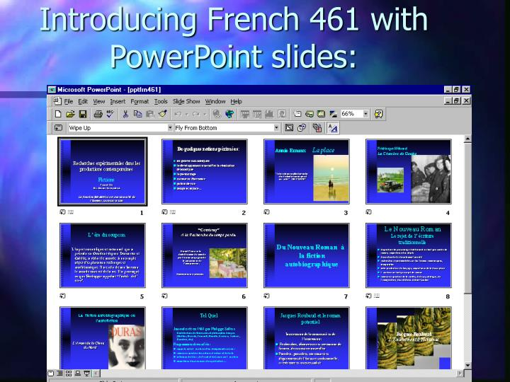 Introducing French 461 with PowerPoint slides: