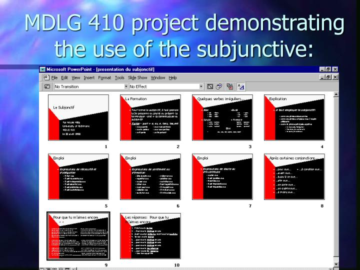 MDLG 410 project demonstrating the use of the subjunctive: