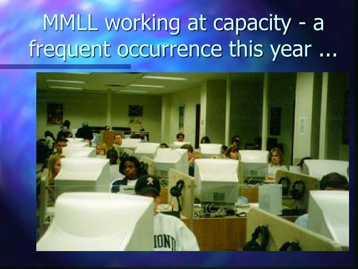 MMLL working at capacity - a frequent occurrence this year ...
