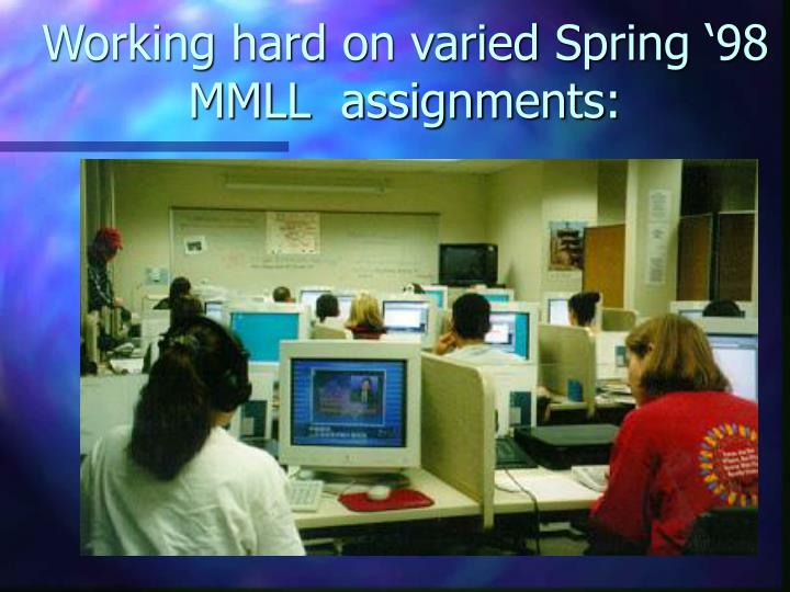 Working hard on varied Spring '98 MMLL  assignments: