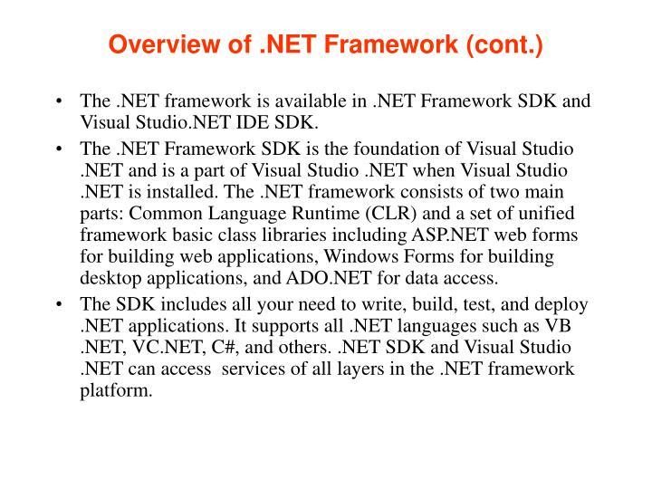 Overview of .NET Framework (cont.)