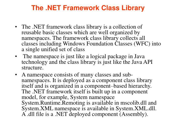 The .NET Framework Class Library