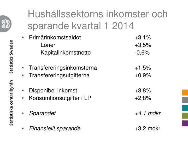 Hushållssektorns inkomster och sparande kvartal 1 2014