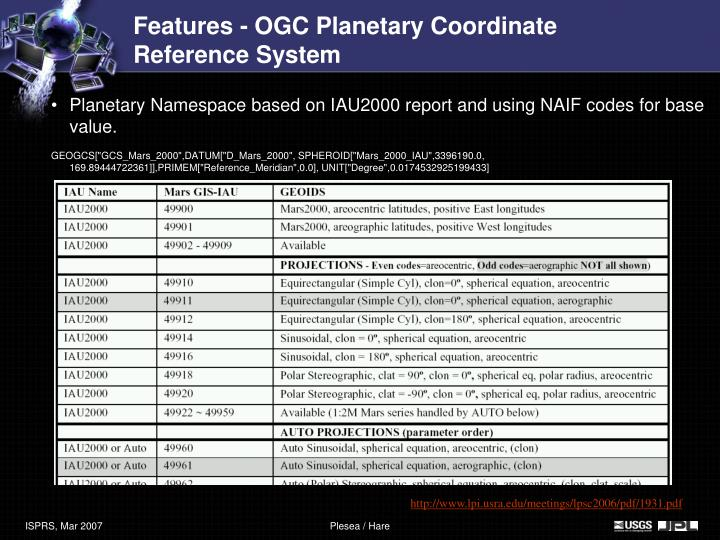 Features - OGC Planetary Coordinate Reference System