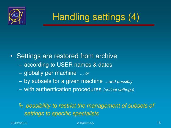 Handling settings (4)