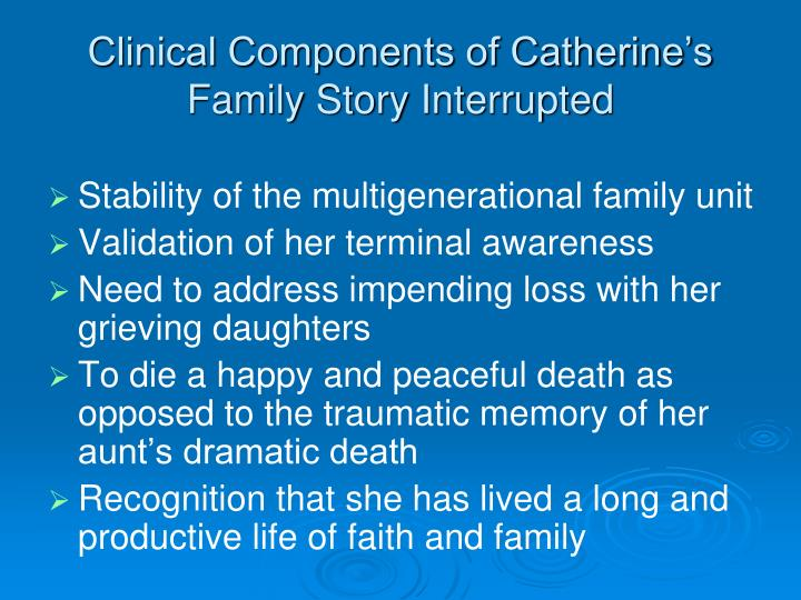 Clinical Components of Catherine's  Family Story Interrupted