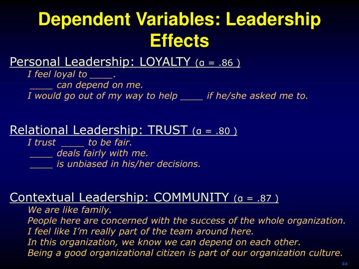 Dependent Variables: Leadership Effects