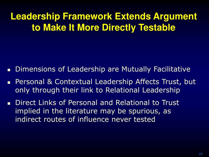 Leadership Framework Extends Argument to Make It More Directly Testable