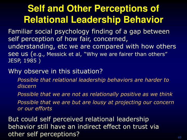 Self and Other Perceptions of Relational Leadership Behavior
