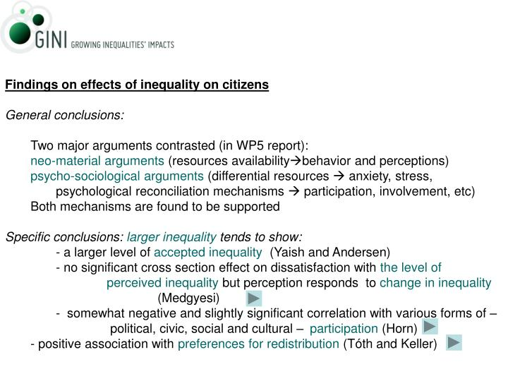 Findings on effects of inequality on citizens
